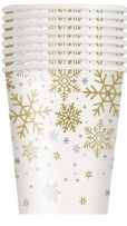 Silver & Gold Holiday Snowflakes Paper Cups (8)